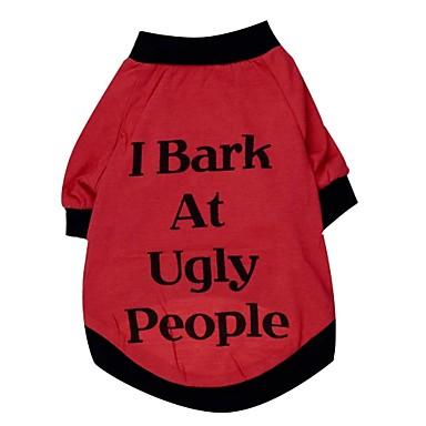 katten / honden T-shirt Rood / Zwart Hondenkleding Lente/Herfst Letter & Nummer