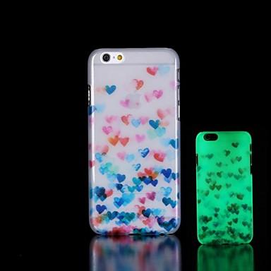 coração padrão brilham no escuro caso difícil para o iphone 6