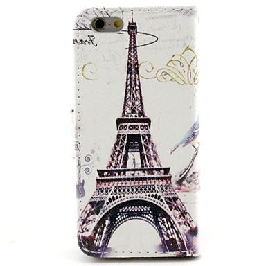 Maska Pentru Apple iPhone 6 iPhone 6 Plus Titluar Card Portofel Cu Stand Întoarce Model Carcasă Telefon Turnul Eiffel Greu PU piele pentru