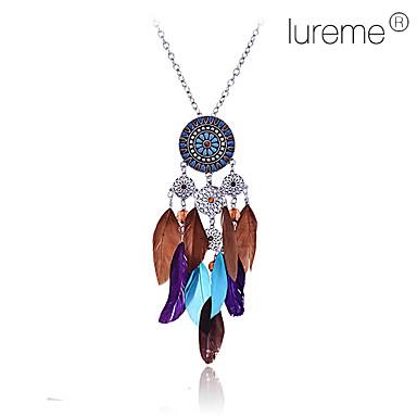 Kadın's Uçlu Kolyeler - Çiçek, Kuş tüyü Moda Mavi Kolyeler Mücevher Uyumluluk Parti