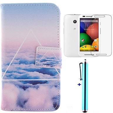 Pouzdro Uyumluluk Motorola Motorola Kılıf Cüzdan / Kart Tutucu / Satandlı Tam Kaplama Kılıf Manzara Sert PU Deri için