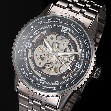 Men's Watch Auto-Mechanical Skeleton Hollow Engraving Steel Band