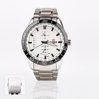 presente personalizado novo mostrador branco de aço inoxidável analógico esporte banda gravado relógio dos homens de estilo