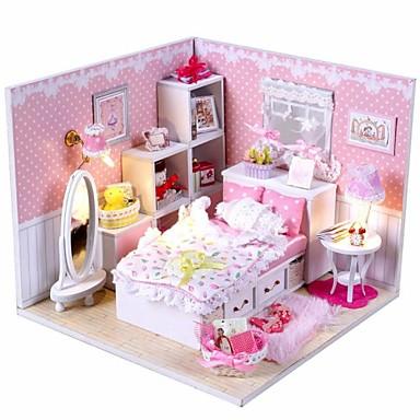 μίνι-βίλα ροζ οδήγησε μοντέλο υπνοδωμάτιο φως πριγκίπισσα DIY χειροποίητα ξύλινα κούκλα σπίτι