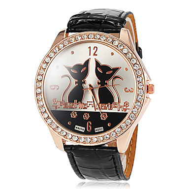 Dames Modieus horloge Kwarts PU Band Cartoon Zwart Wit