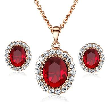 Pentru femei Cristal Set bijuterii Σκουλαρίκια / Coliere - Modă Rosu / Albastru Pentru Nuntă / Petrecere / Casual
