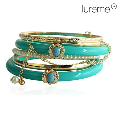 lureme®turquoise brazalete de perlas de resina (6 piezas)