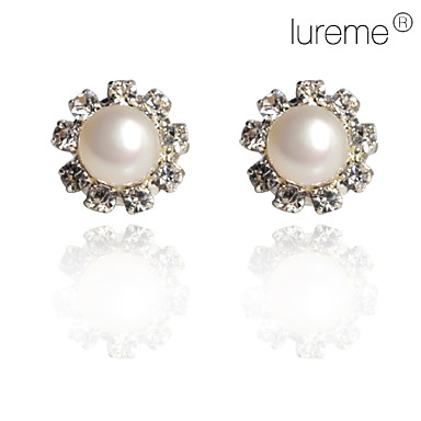Blomstformet Stangøreringe Smykker Dame Daglig Perle Sølv Hvid