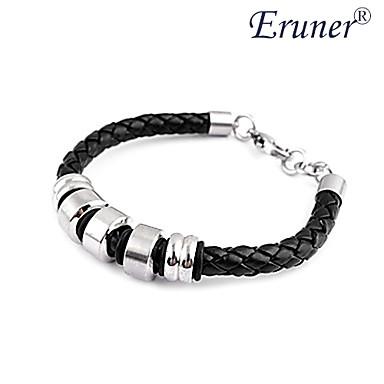 Eruner®Men's Leather Bracelet with Five Titanium Steel Rings (Black)