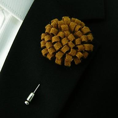 handmade lã marrom luz dos homens combina flores de lapela boutonniere