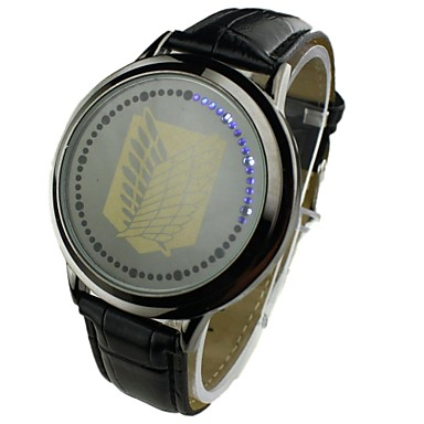 Masculino Relógio Elegante LED Digital PU Banda Preta Marrom