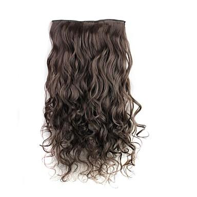 24 inch 120g lange donkerste bruine hittebestendige synthetische vezels krullend clip in hair extensions met 5 clips
