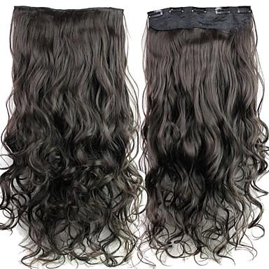 Buclat Păr Sintetic 24 inch Extensie de păr Agață În / Pe Negru Pentru femei Zilnic / Fără calotă