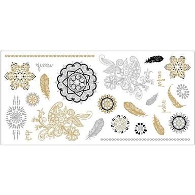 #(1) - #(20x10x0.2) - Χρυσό Σειρά Τοτέμ - Αυτοκόλλητα Τατουάζ - Μοτίβο - από Χαρτί για Γυναικεία/Girl/Ενήλικες/Εφηβικό