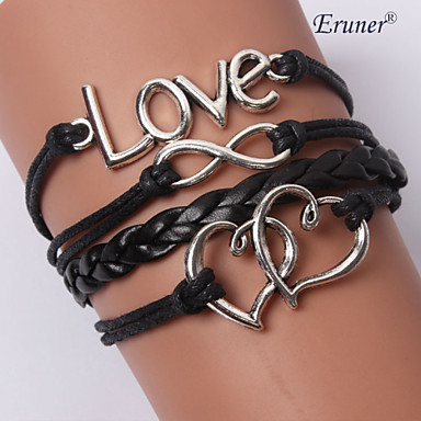 Women's Layered Wrap Bracelet / Leather Bracelet - Leather Love, Anchor, Infinity Personalized, Unique Design, Fashion Bracelet Black For Christmas Gifts / Wedding / Party