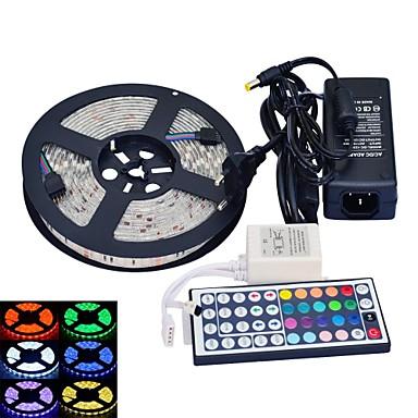 jiawen® waterdichte 5m 300x5050 smd rgb led strip flexibele light + rgb 44 key afstandsbediening + AC-adapter (AC110-240V)