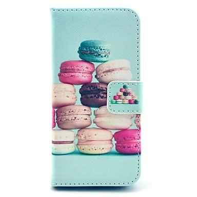 coco fun® kleurrijke macarons patroon pu leer full body hoesje met film en usb-kabel en stylus voor iPhone 5c