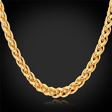 billige Mode Halskæde-Dame Chunky Vredet Kort halskæde Kædehalskæde Guldbelagt Damer Mode Dubai Gylden Halskæder Smykker Til Bryllup Fest Daglig Afslappet