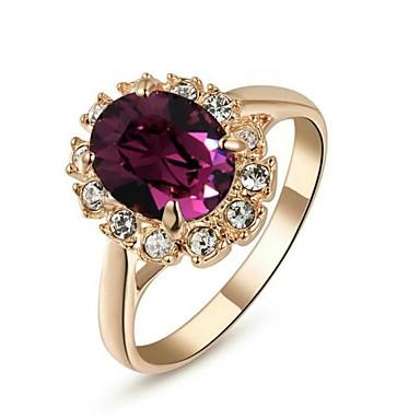 Kadın's Bildiri Yüzüğü - Kristal, Altın Kaplama Moda 6 / 7 / 8 Mor Uyumluluk Düğün / Parti / Günlük / Kübik Zirconia / Zirkon