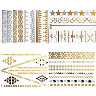 #(8) - #(23x15.5) - Καφέ Σειρά Κοσμημάτων - Αυτοκόλλητα Τατουάζ - Μοτίβο - από Χαρτί για Γυναικεία/Girl/Ενήλικες/Εφηβικό
