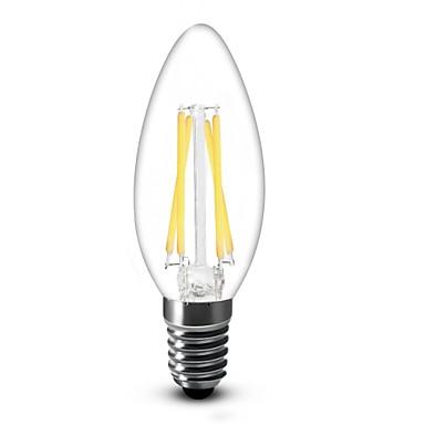 shenmeile E14 4W 4 COB 350 LM Branco Quente C35 edison Vintage Lâmpadas de Filamento de LED AC 220-240 V