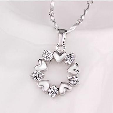 Kadın's Temiz Kübik Zirconia Kolye / Y kolye - Som Gümüş, Gümüş Çiçek Gümüş Kolyeler Mücevher Uyumluluk Özel Anlar, Parti / Gece, Hediye / Günlük