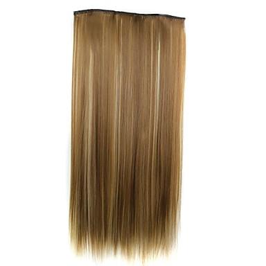 22 inç Sentetik Saç Ek saç Düz Klasik Klips İçeri/Dışarı Günlük Yüksek kalite sentetik Kadın's Kadın