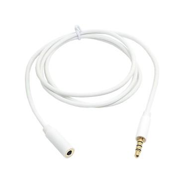 λευκό χρώμα 3,5 χιλιοστών 4-πόλων στερεοφωνικά ακουστικά ήχου αρσενικό σε βύσμα χρυσό καλώδιο 100 εκατοστά θηλυκό προέκτασης