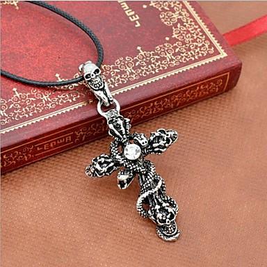 Homme Croix Serpent Crâne Forme Bijoux Fantaisie Européen Pendentif de collier Colliers Déclaration Cuir Acier au titane Pendentif de