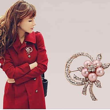 broche de flor de pérola strass feminino
