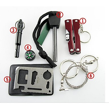 Survival Kit Fire Starter Kompassen Survival Whistle Credit Card Survival Tool Steel Wire Saw Tang Wandelsport Bergschoenen Kamperen