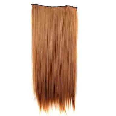 24 ιντσών 120g μακρύ συνθετικό κομμάτι μαλλιά ίσια κλιπ σε επεκτάσεις τρίχας με 5 κλιπ