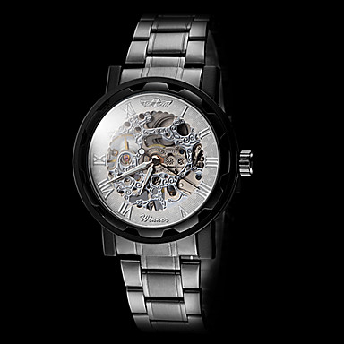 WINNER Ανδρικά Διάφανο Ρολόι / μηχανικό ρολόι Εσωτερικού Μηχανισμού Ανοξείδωτο Ατσάλι Μπάντα Μαύρο