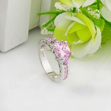 Mulheres Anel de declaração Rosa claro Pedras preciosas sintéticas Zircão Zircônia Cubica Fashion Casamento Festa Diário Casual Esportes