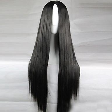 Συνθετικές Περούκες Πυκνότητα Γυναικεία Μαύρο μαύρο Περούκα Μακρύ Συνθετικά μαλλιά