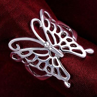 Kadın's Bildiri Yüzüğü - Som Gümüş Kelebek, Hayvan 7 / 8 Uyumluluk Düğün Parti Günlük