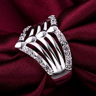 Feminino Maxi anel Cristal Jóias de Luxo Prata de Lei Imitações de Diamante Jóias Para Casamento Festa Diário Casual