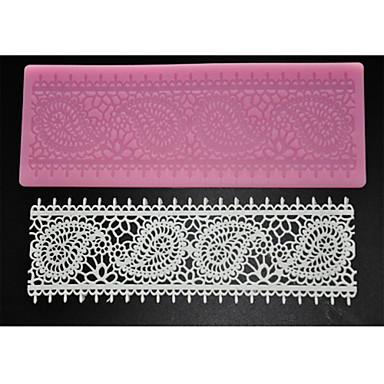 Four-C bolo suprimentos rendas silicone molde esteira do laço para embarcações de açúcar, silicone mat fondant cor ferramentas bolo rosa