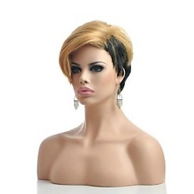 Synthetische Perücken Damen Glatt Blond Synthetische Haare 6 Zoll Blond Perücke Kurz Kappenlos Blondine hairjoy