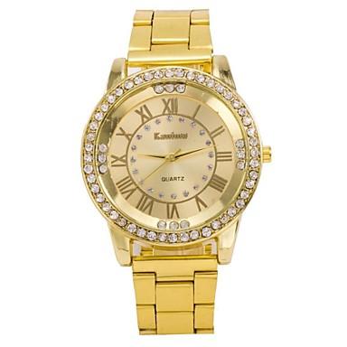 Mulheres Bracele Relógio Relógio Casual Quartzo Aço Inoxidável Banda Dourada Dourado