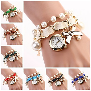 Women's Quartz Bracelet Watch Casual Watch Alloy Band Pearls Elegant Fashion Black White Blue Red Brown Green