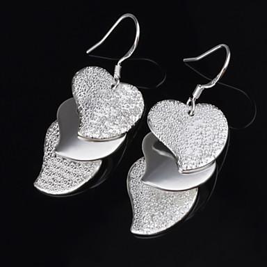Feminino Brincos Compridos Coração Aço Titânio Liga Formato de Coração Jóias Para Casamento Festa