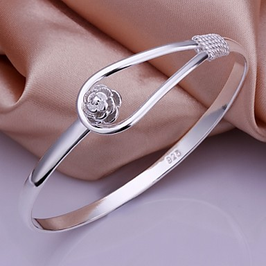 Mulheres Bracelete - Prata de Lei Pulseiras Prata Para Casamento / Festa / Diário