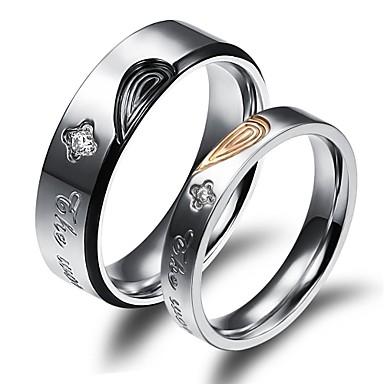 Homens Mulheres Anéis de Casal Fashion Chapeado Dourado 18K ouro Jóias Casamento Festa Diário Casual Esportes
