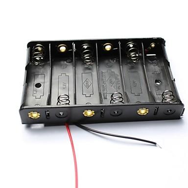 DIY 9v 6 x θήκη της μπαταρίας AA κουτί περίπτωση με οδηγεί