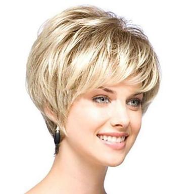 Sentetik Peruklar Bukle Altın Asimetrik Saç Kesimi Sentetik Saç 4 inç Doğal saç çizgisi Altın Peruk Kadın's Şort Bonesiz Açık Sarı