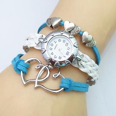 Mulheres Relógio de Moda Relógio de Pulso Bracele Relógio Quartzo Couro Banda Heart Shape Boêmio Branco
