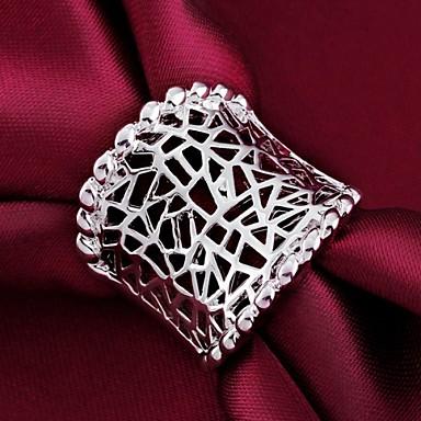 Kadın's Bildiri Yüzüğü - Som Gümüş Kişiselleştirilmiş, Klasik 7 / 8 Uyumluluk Düğün / Parti / Günlük