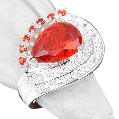 Mulheres Anel de declaração Vermelho Rosa claro Prata Chapeada Casamento Festa Diário Casual Esportes Jóias de fantasia