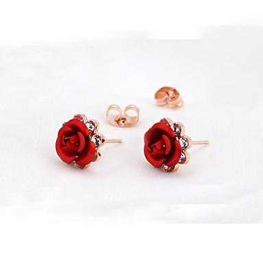 Oorknopjes Kristal Kubieke Zirkonia Verguld Bloemvorm Paars Rood Blauw Sieraden Voor Bruiloft Feest Dagelijks Causaal 2 stuks